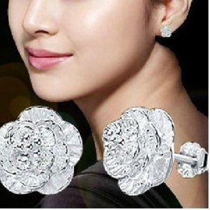 Sterling Silver Rose Flower Stud Earrings